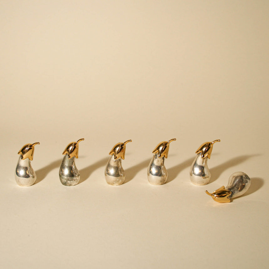 Silver Eggplant Place Card Holders
