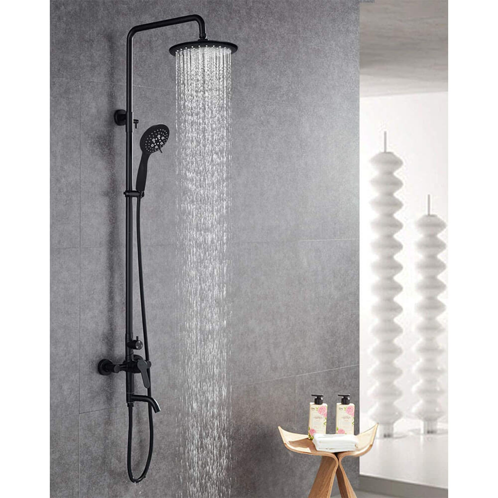 5 Spray Functions Wall Mounted Shower Outdoor Shower Faucet Set With Tub Spout Tap In Black Phasat