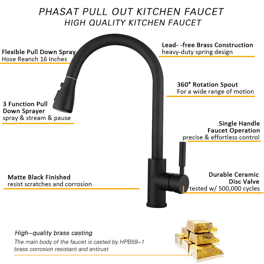 Pull Out Kitchentaps Black Brushed Nickel Kitchen Spray Tap With Cold And Hot Mixed Water Deck Mounted Phasat