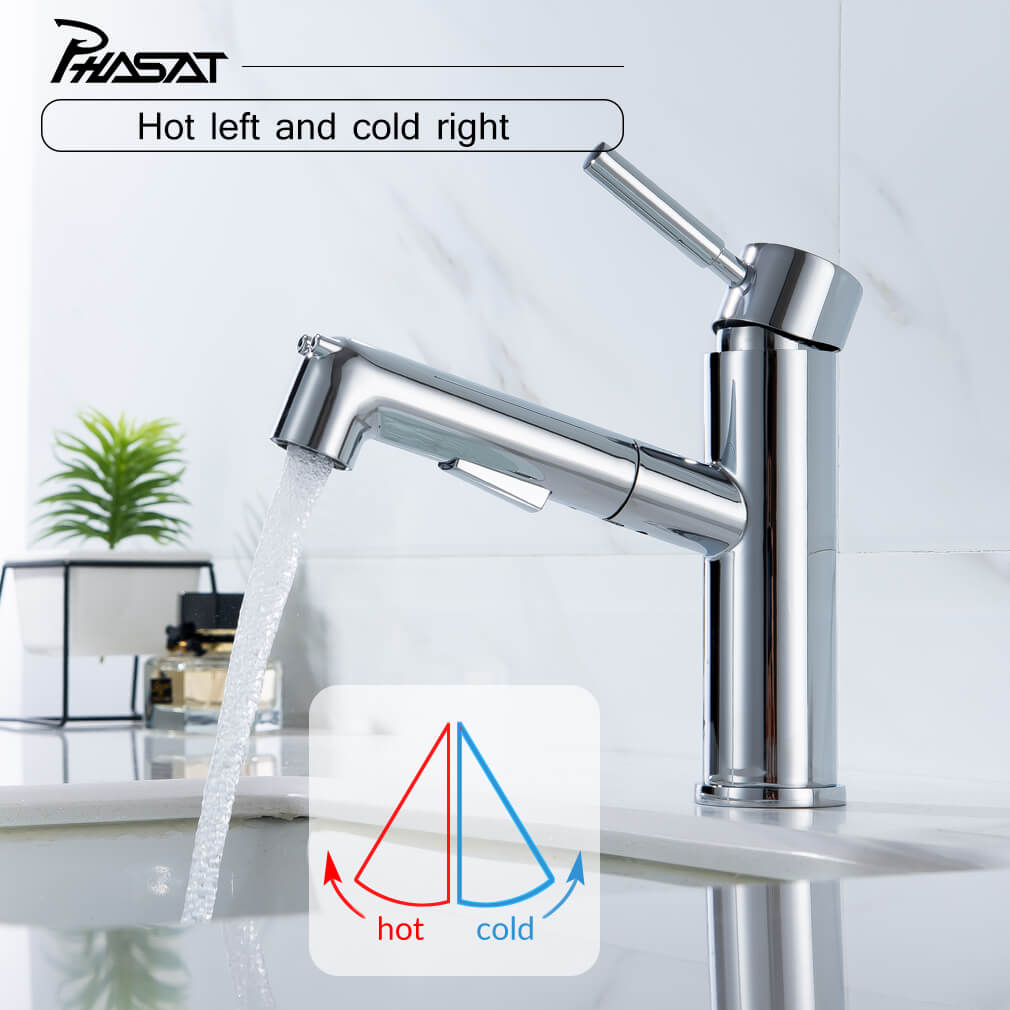 Pull Out Sprayer Bathroom Basin Sink Faucet With Push Button Mixer Tap Phasat