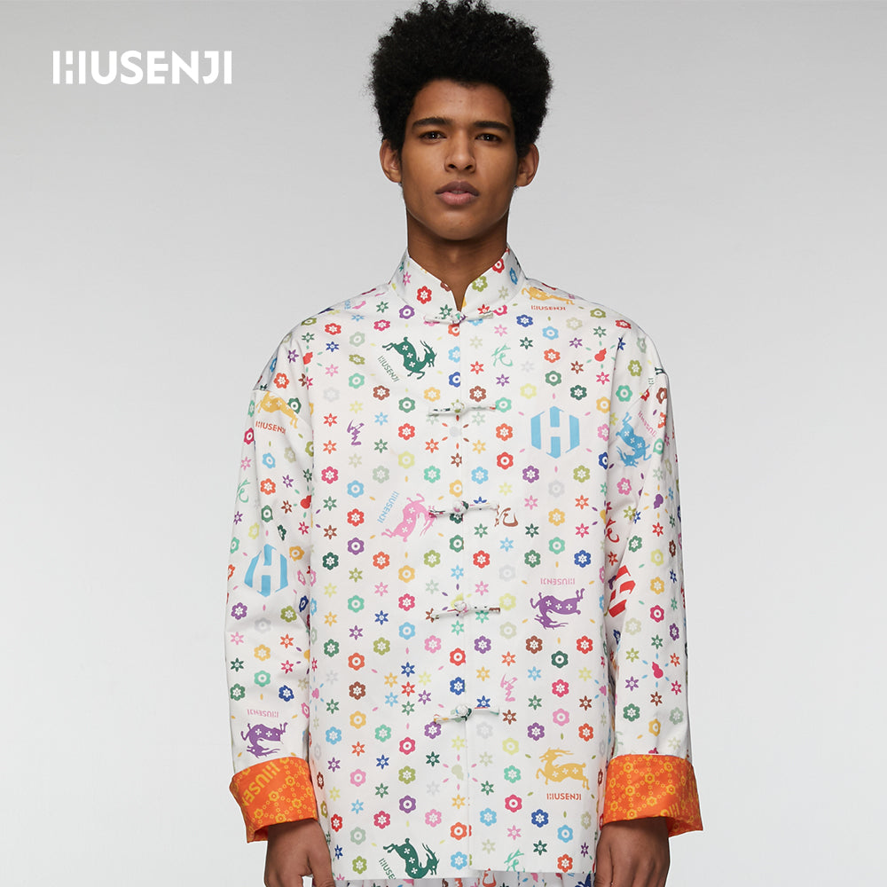 "HUSENJI Monogram TangSuit""HUALU"" in White for Men"
