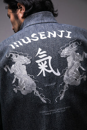 "Embroidery Denim Coat ""KIRIN CHI"""