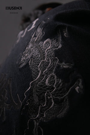 "Embroidery Denim Tang Suit ""KIRIN CHI"""