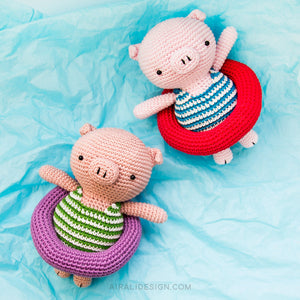 Amigurumi Piglet on Holiday | PDF Crochet Pattern