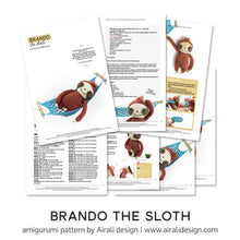 Load image into Gallery viewer, Brando the Amigurumi Sloth | PDF Crochet Pattern