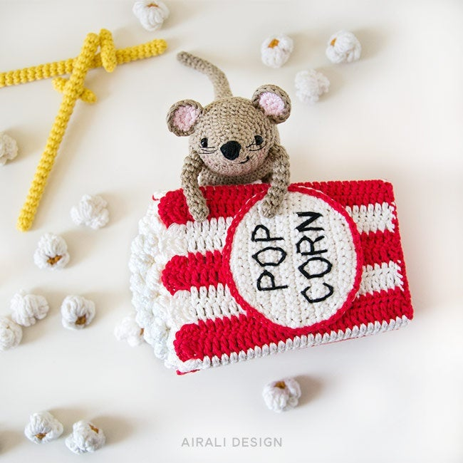 Steno the Amigurumi Mouse with Cinema Popcorn Box | PDF Crochet Pattern