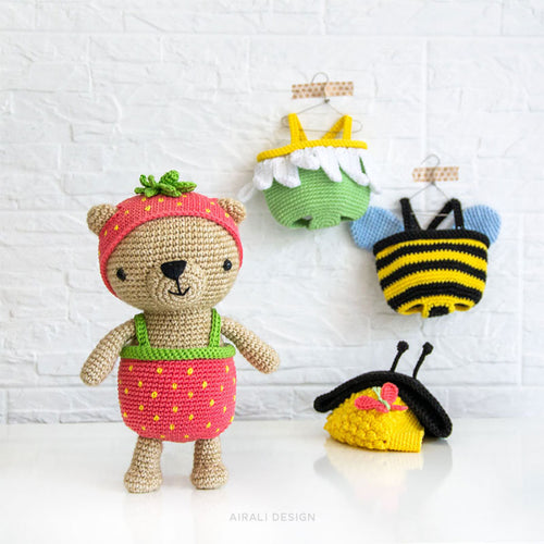 Baby Knitting Patterns Amigurumi Crochet Bear in Nightdress Free ... | 500x500