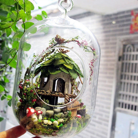 Crystal Glass Ball Dollhouse Wooden Fairy Tree House 3D Assembly DIY