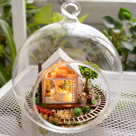 Crystal Glass Ball Dollhouse Wooden Magic Garden 3D Assembly DIY