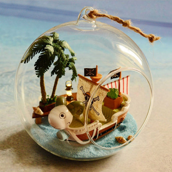 Crystal Glass Ball Dollhouse Pirate Ship 3D Assembly DIY