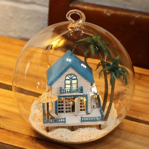 Crystal Glass Ball Dollhouse Wooden Romantic Sea House 3D Assembly DIY