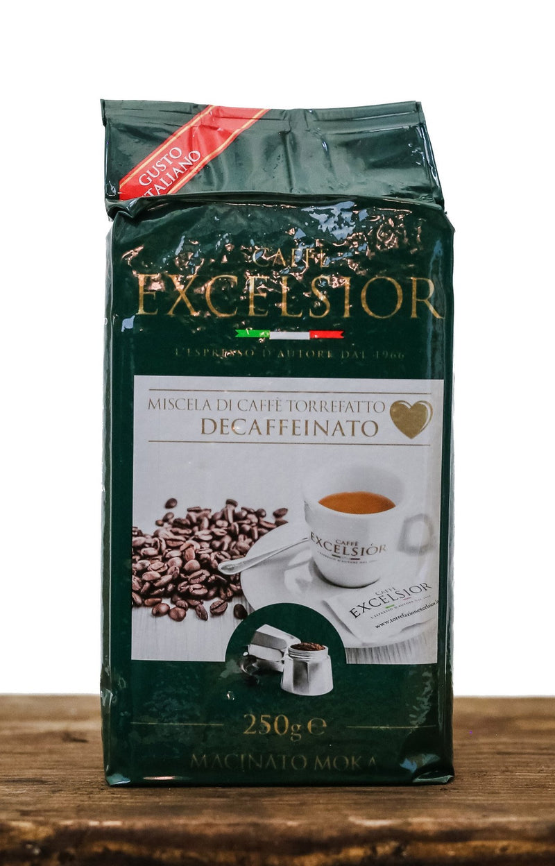 Powder decaffeinated coffee