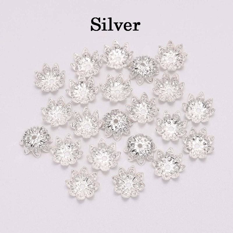 100pcs 8/10 Mm Metal Lotus Flower Loose Spacer Beads Cap Cone End Beads Cap for DIY Jewelry Finding Making