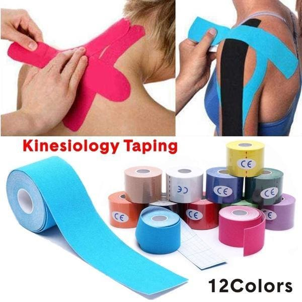 12 Colour Muscle Bandage 5m x 5cm /2.5cm x 5m Sports Kinesiology Tape Roll Athletic Kinesiology Tape Sport Recovery Strapping Gym Waterproof Self Adhesive Elastic Kinesiology Tape