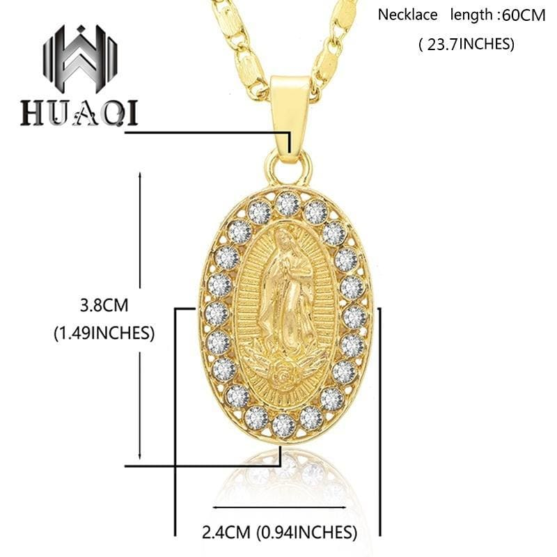 18k Gold Plated Blessed Catholic Virgin Mary Pendant