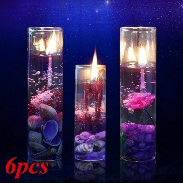 1Pc/2pcs/4pcs/6pcs Random Color Romantic Aromatherapy Smokeless Ocean Shells Jelly Wax Candle Crystal Essential Oil Wedding Candles Party Room Decoration (8.5cm X 2.7cm)