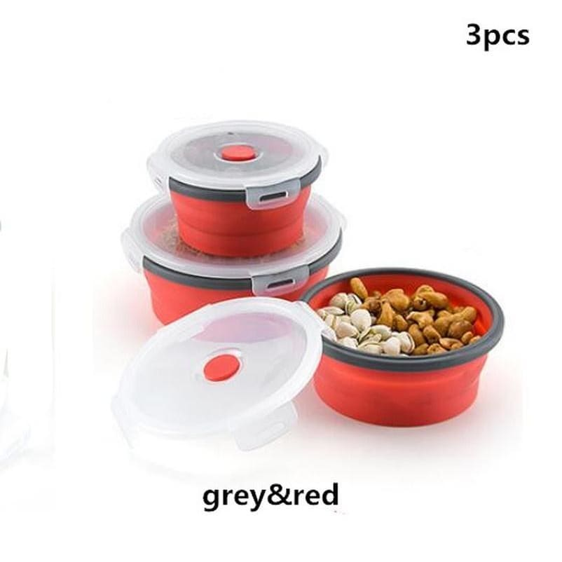 1pc/3pcs/4pcs Set Foldable Silicone Food Lunch Box Fruit Salad Storage Food Box Microwavable Container Dinnerware Conveniently Lunch Box Picnic Camping
