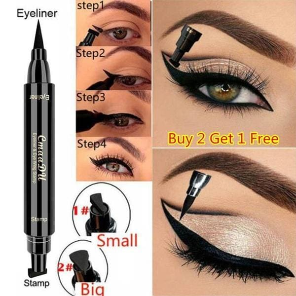 1PCS CmaaDu Liquid Eyeliner Pencil Super Waterproof Black Double-Headed Stamps Eye Liner Eye Maquiagem Cosmetic Makeup Tool