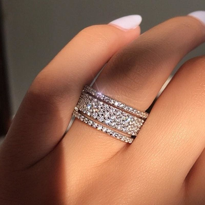 1pcsset Exquisite Full Diamond 5 Rows White Sapphire Ring 925 Sterling Silver Bridal Wedding Jewelry Princess Engagement Diamond Gift Size 5-10