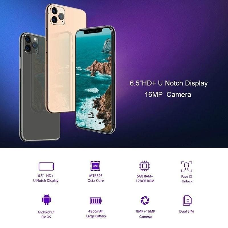 2020 Hot Sales Android 9.1 High Quality 6G+128G Ultra-thin Smartphone 6.1 Inch 16+8MP 4800mAh Octa core Phone Face/Fingerprint Unlocked Cellphone