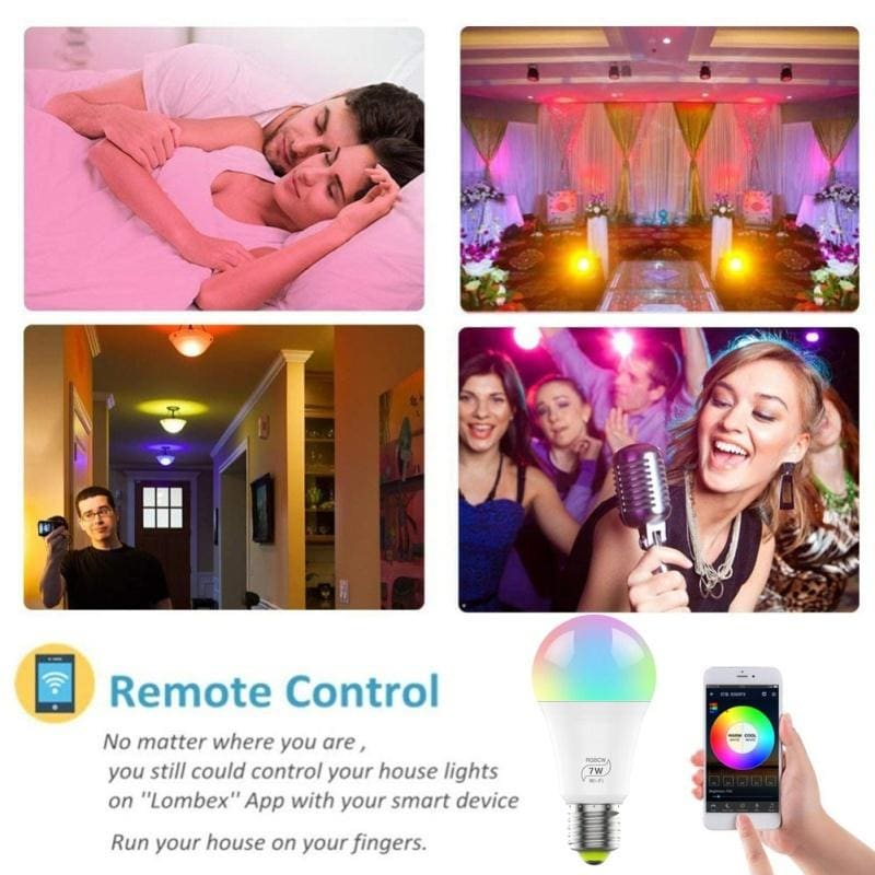 2020 Newest Smart Bulb! 7W E27 WiFi Smart LED Light Bulb Dimmable Smartphone Control Multicolor Changing Lights Bulbs