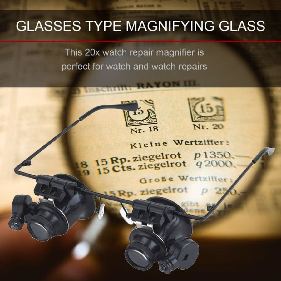 20X Glasses Type Magnifier Watch Repair Tool with Two LED Lights