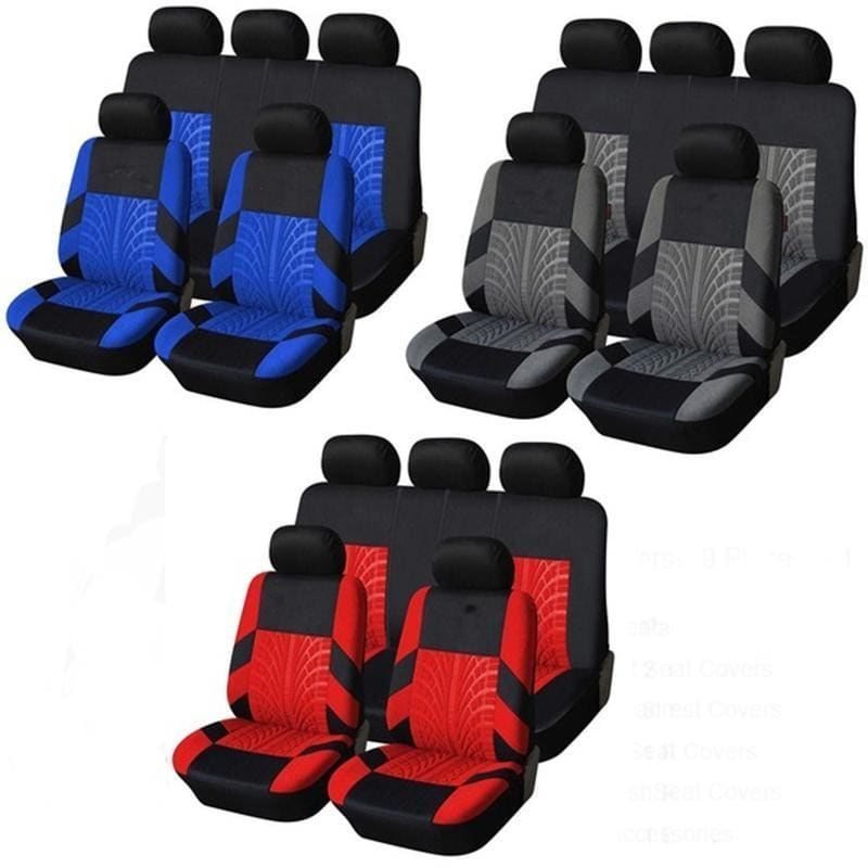 2/4/9 Pcs Embroidery Car Seat Covers Set Universal Fit Most Cars Covers with Tire Track Detail Styling Car Seat Protector