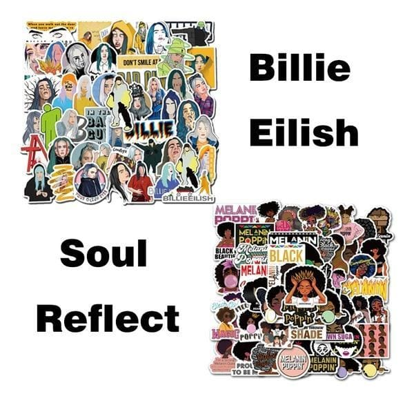 25/50PCS Fashion Billie Eilish and Cool Inspirational Melanin Poppin Black Girl Stickers for DIY Luggage Laptop Skateboard Car Motorcycle Bicycle Stickers