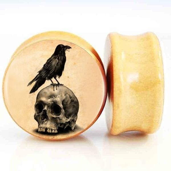2pcs/lot Skull Wood Ear Gauge Plugs And Tunnels 8mm-25mm Ear