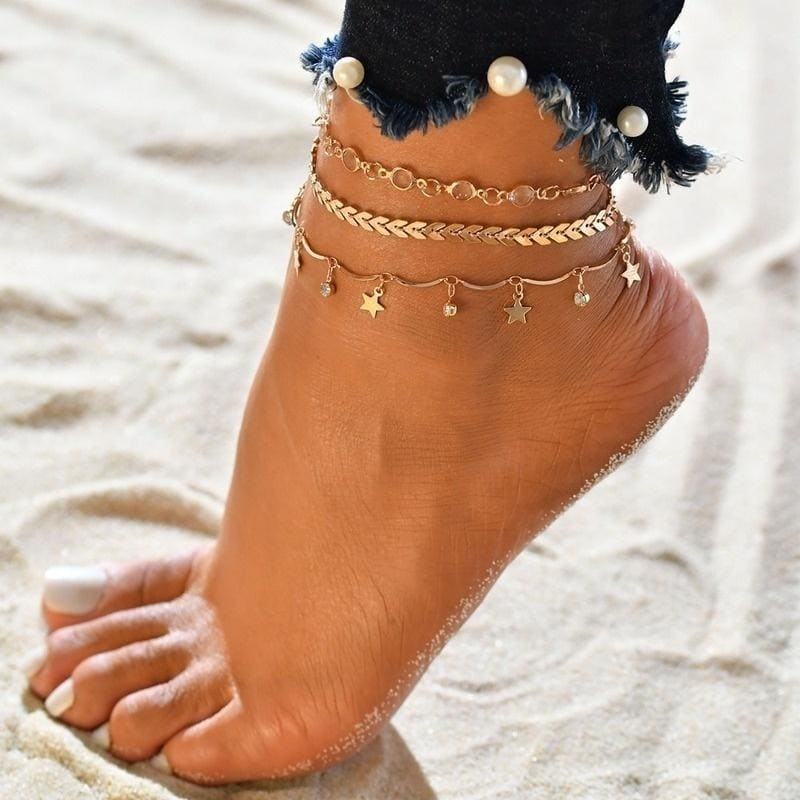 3 Chains / 1 Set Popular New Products Multi-layer Chain Anklets / Bracelets Sequins Retro Beach Exposed Ankle Jewelry Accessories