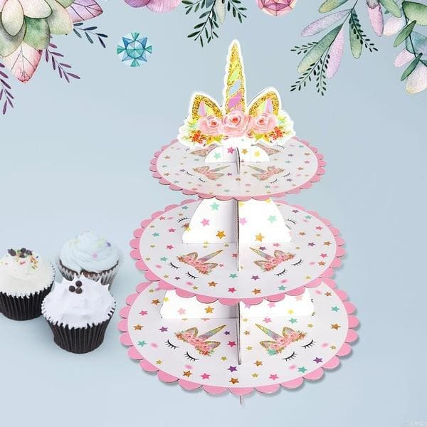 3 Tier Unicorn Cupcake Stand Cup Cake Display Kid Birthdy Party Cake Party Supplies