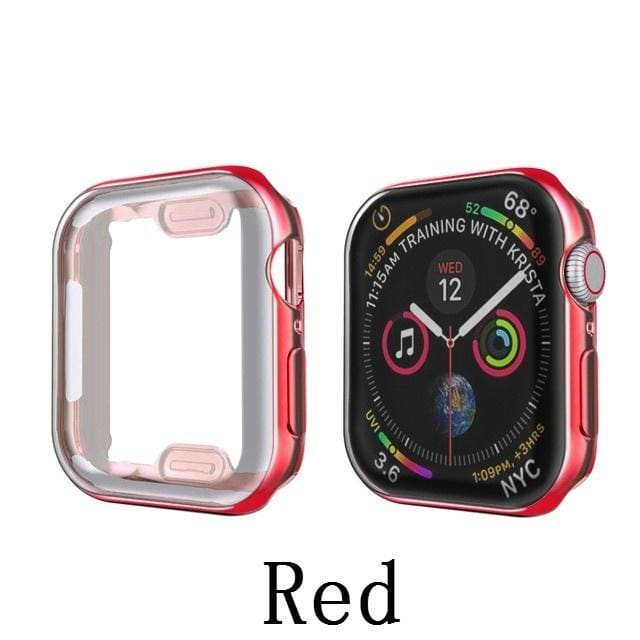 360-degree All-around Plating Screen Protector for IWatch Series 5/4/3/2/1 Soft Silicone IWatch Case 40mm 44mm 38mm 40mm Full Cover
