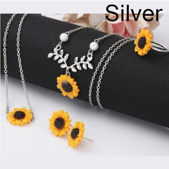 5 / 3PCS Fashion Classic Sunflower Jewelry Gift Set Sunflower Leaf Branches Pendant Necklace Earrings Bracelet Ring Ladies Accessories with Gift Box
