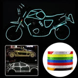 7 Color Night Cycling Stripe Rim Luminous Reflective Tape Sticker Car Rim Tape 8M Long 1CM Wide