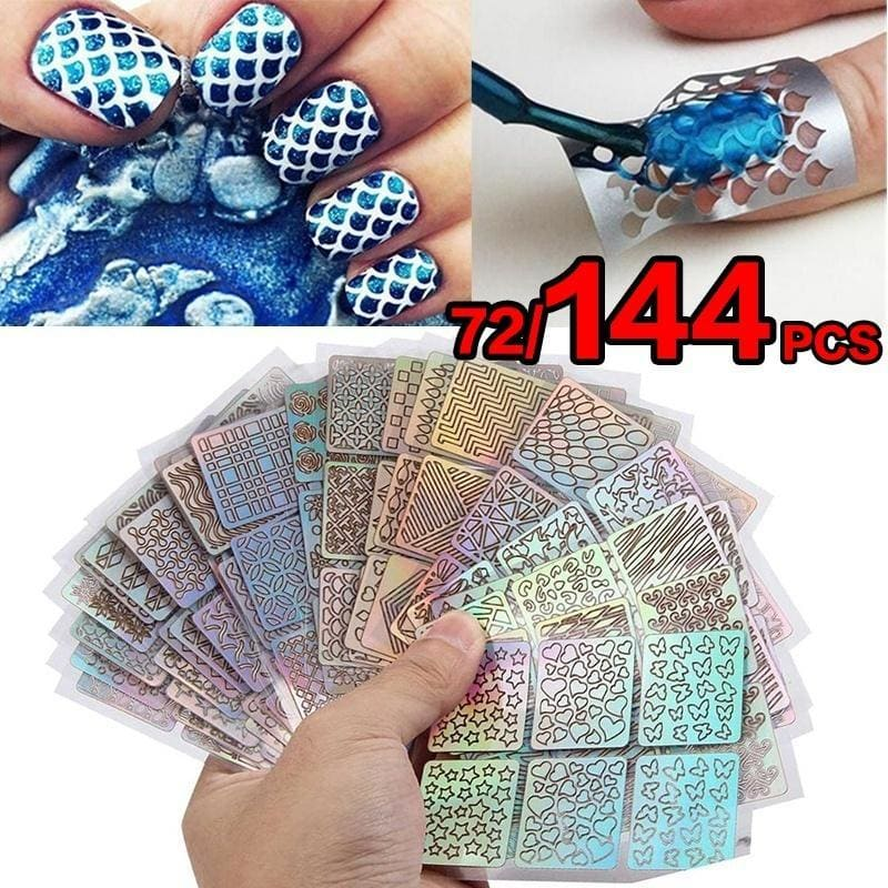72/144Pcs Vinyls Hollow Stickers Manicure Curved Wave Laser Tip Nail Art Stamping Template Nails Tool