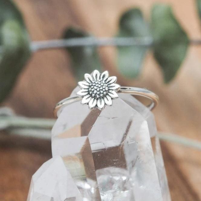 Boho Rings Sterling Silver Floral Ring Petal Ring Lotus Ring Daisy Ring Plant Ring Delicate Ring Handmade Ring Bride Wedding Gifts Jewelry Sunflower Ring Chrysanthemum Ring