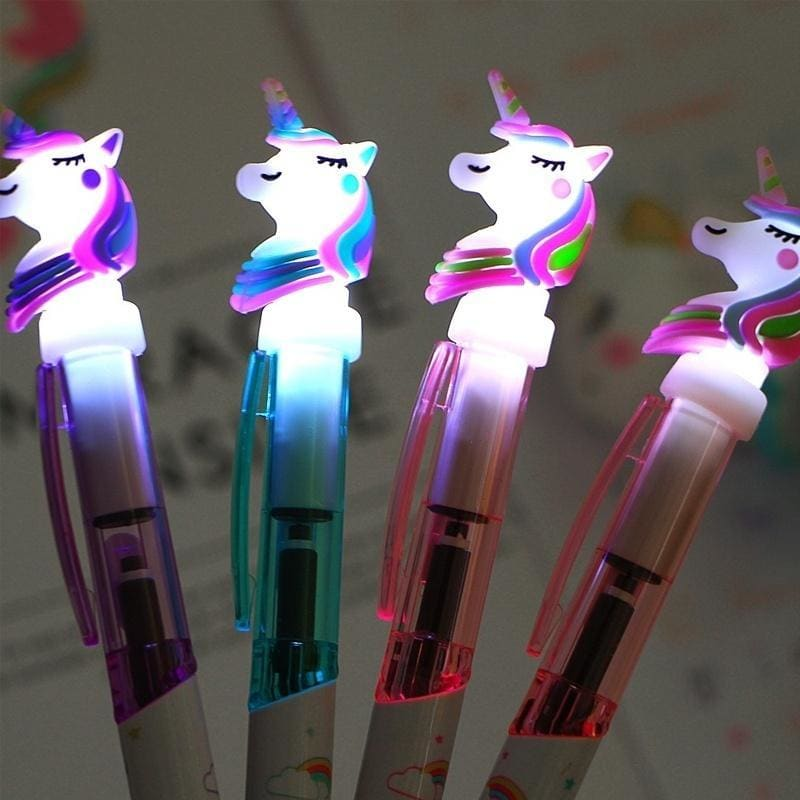 Creative Cartoon Light Pen Cute Glowing Ballpoint Pen Student Stationery 0.5mm Writing Tool School Supplies (1PCS-4PCS)