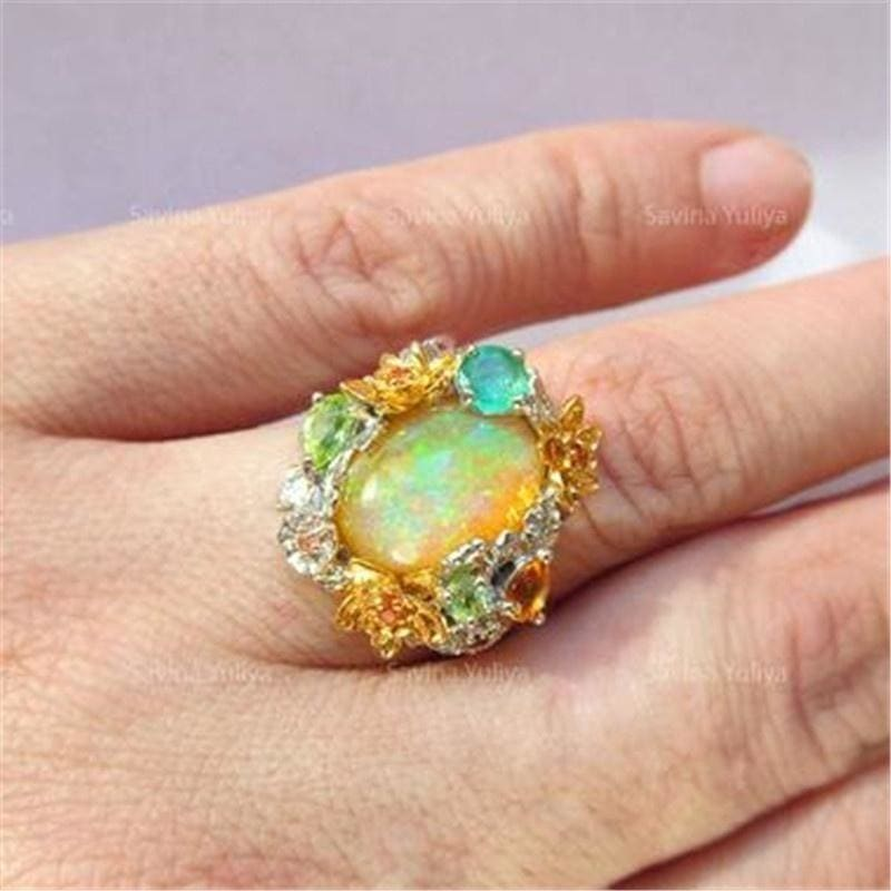 Exquisite 925 Sterling Silver Natural Big Opal Ring Creative Flower Ring Emerald Ring Floral Jewelry Fashion Accessories Lover Gift Size 5-11