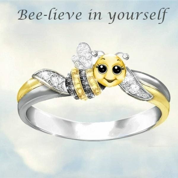 Exquisite fashion 18K gold cute bee crystal diamond