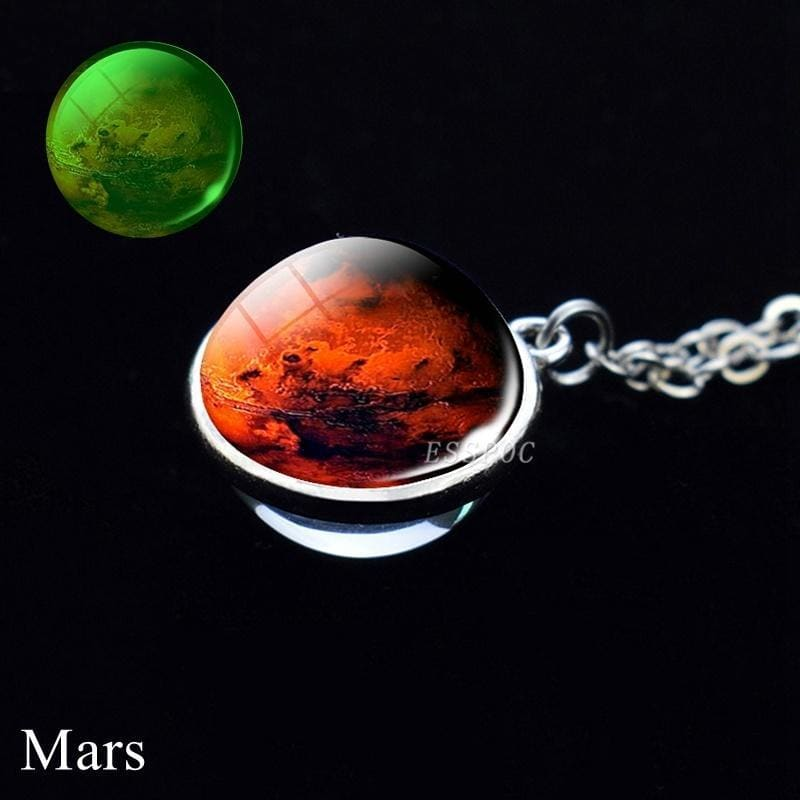 Glow In The Dark Galaxy Necklace Space Planet Pendant