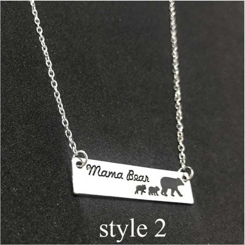 Mama Bear Bar Necklace Mom Baby Bear Cub Moma Bear Gift for
