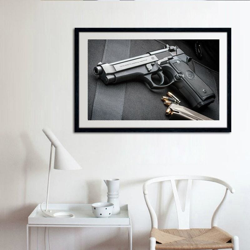 Military Collection Beretta Co2 Powered Full Auto Blowback BB AIR Pistol Gun Canvas Poster Artwork Decorative Painting