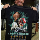 New Fashion Mens Lewis Hamilton World Titles Shirt Casual Print Tshirts S-5XL