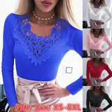 Plus Size Women's Fashion Loose Casual long sleeve Lace splice Solid color Autumn T Shirts blouse tops