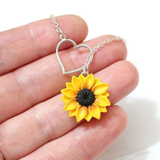 Sunflower Heart Lariat Necklace, Yellow Wedding, Sunflower Flower Necklace, Bridal Flowers, Sunflower Bridesmaid Necklace