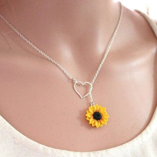 Sunflower Heart Lariat Necklace Yellow Wedding Sunflower