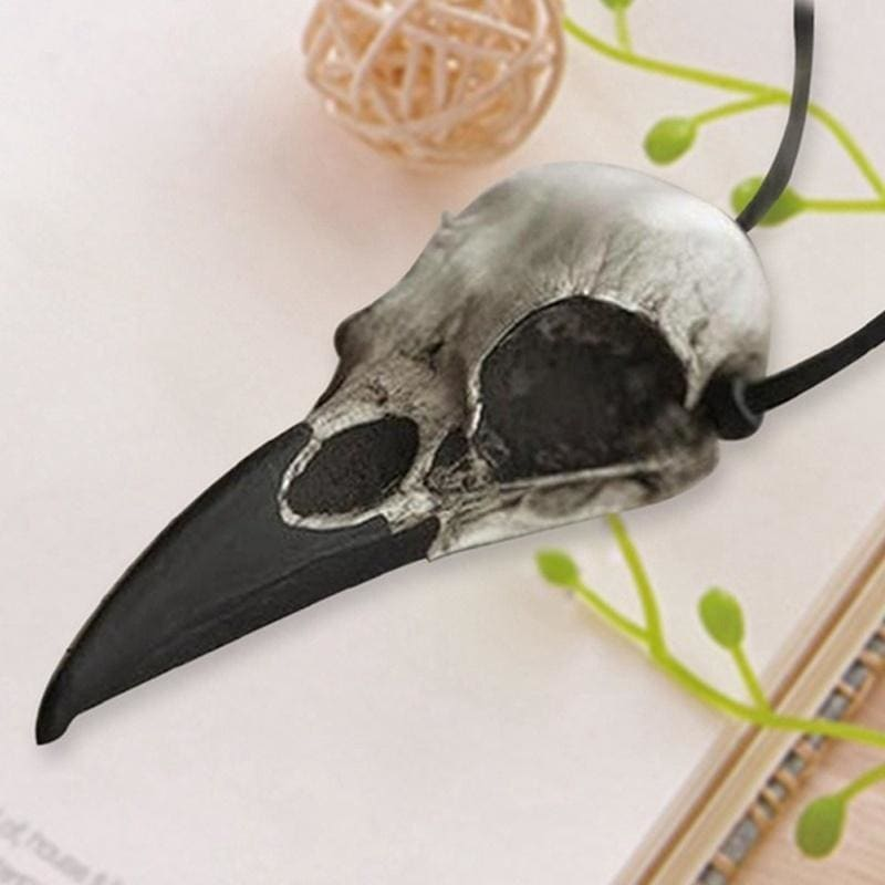 Viking Large Bird Skull Necklace Resin Replica Raven Magpie