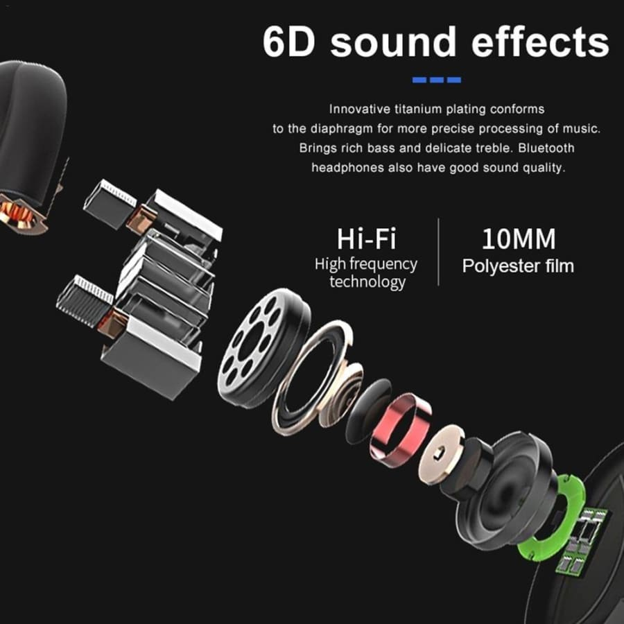 Wireless Headset Sport Earplugs HiFi With Microphone Stereo