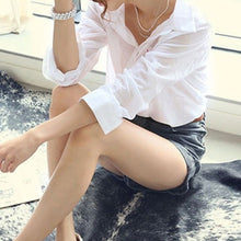 Load image into Gallery viewer, Women Summer Linen White Solid Blouse Shirt