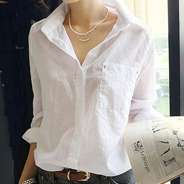 Women Summer Linen White Solid Blouse Shirt
